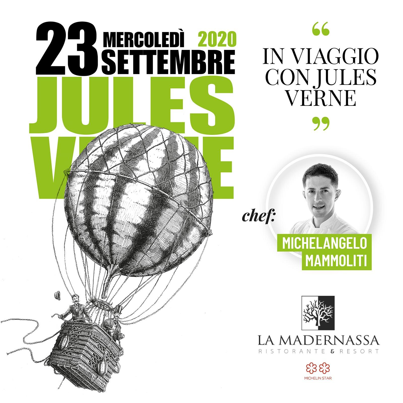 23 settembre 2020: cena letteraria su Jules Verne presso il ristorante La Madernassa di Guarene, Cn