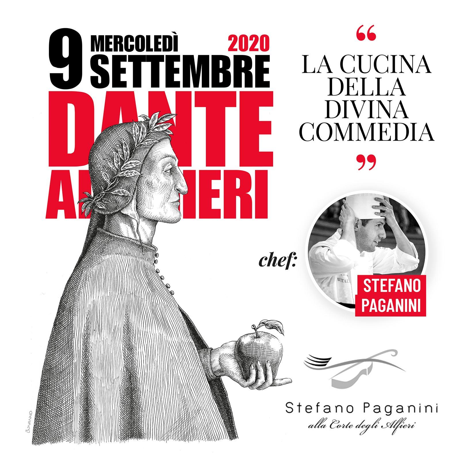 9 settembre 2020: cena letteraria sulla cucina nella Divina Commedia - Ristorante Stefano Paganini - Castello di Magliano Alfieri
